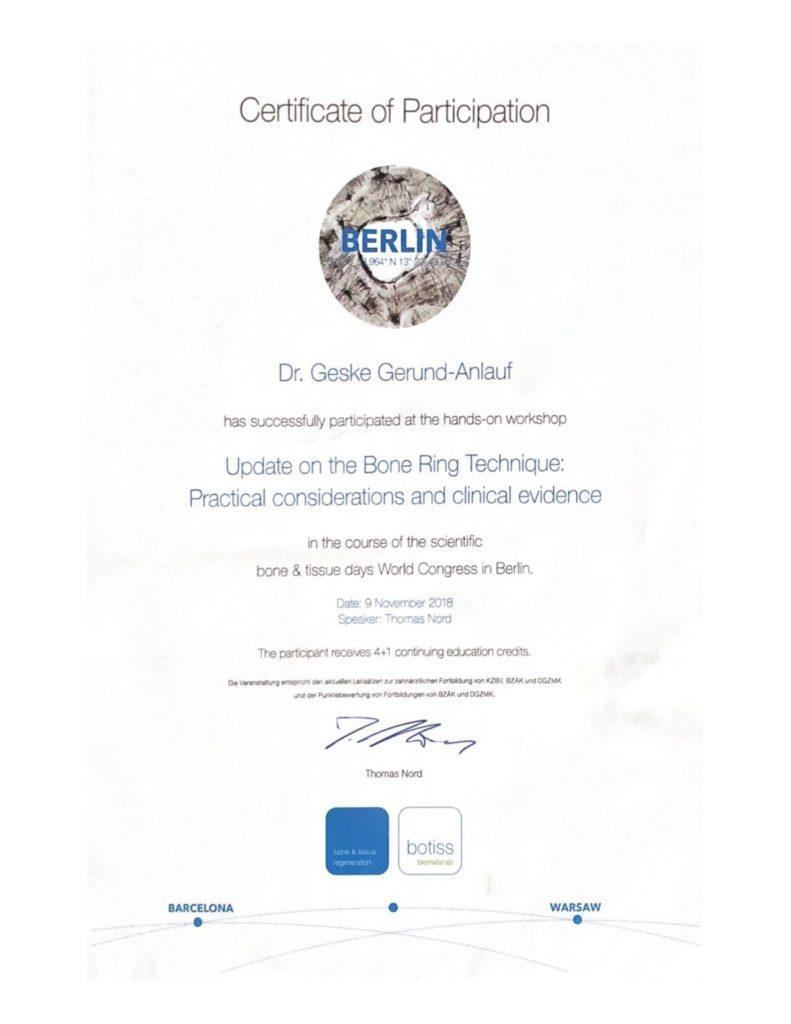 Implantat Zertifikat