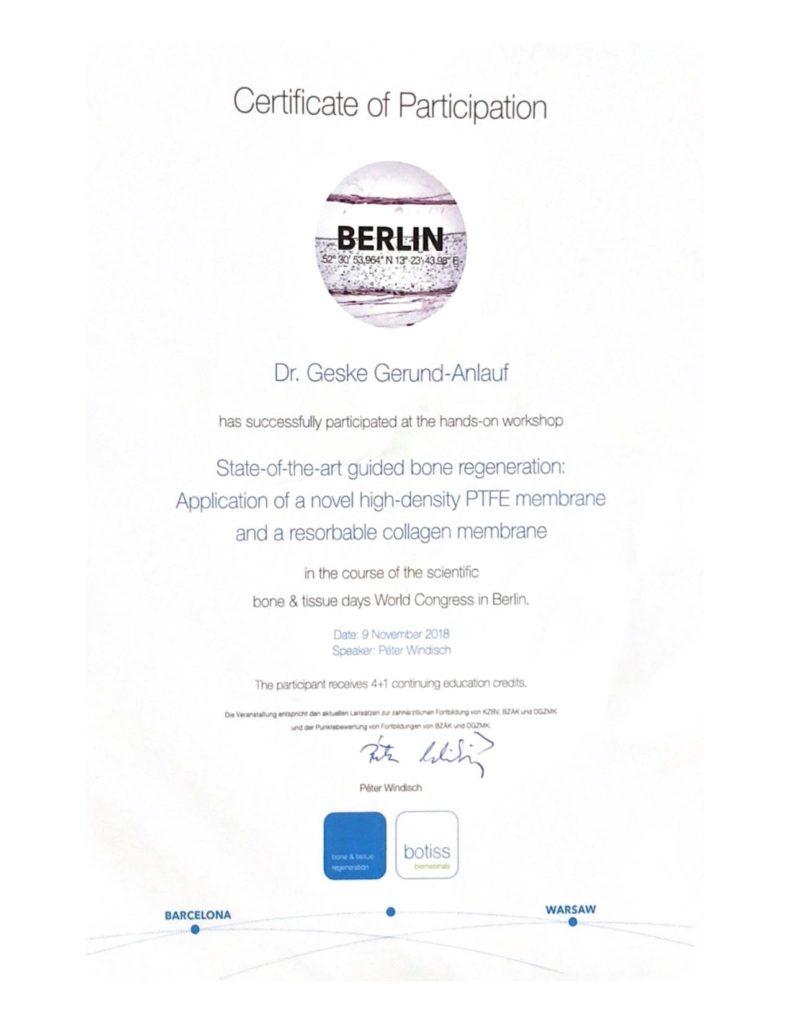 Straumann Botiss Zertifikat